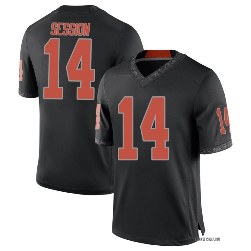 Replica Men's Nick Session Oklahoma State Cowboys Black Football College Jersey