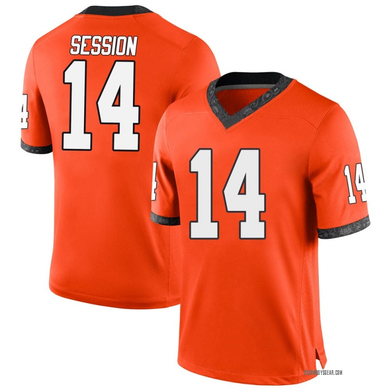 Replica Men's Nick Session Oklahoma State Cowboys Orange Football College Jersey
