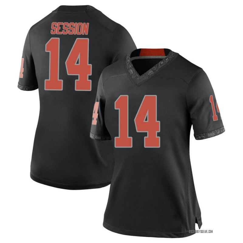 Replica Women's Nick Session Oklahoma State Cowboys Black Football College Jersey